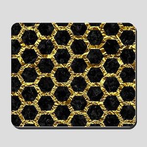 HEXAGON2 BLACK MARBLE & GOLD FOIL Mousepad