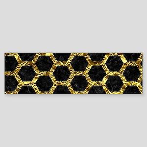 HEXAGON2 BLACK MARBLE & GOLD FOIL Sticker (Bumper)