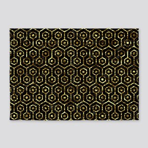 HEXAGON1 BLACK MARBLE & GOLD FOIL 5'x7'Area Rug