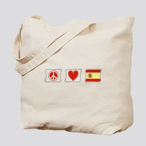 Peace, Love and Spain Tote Bag