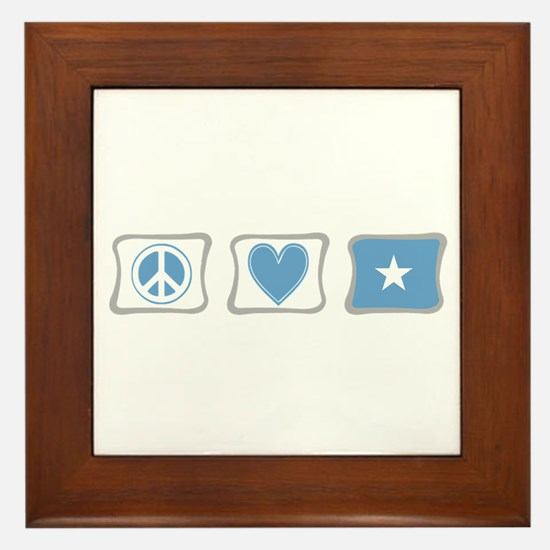 Peace, Love and Somalia Framed Tile