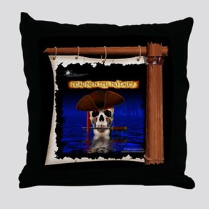 Cammodore Skull On Ship's Sail Pirate Throw Pillow