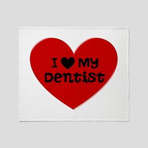 I Love My Dentist Heart Throw Blanket