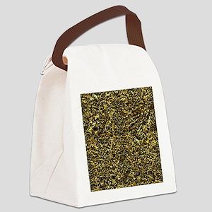 DAMASK2 BLACK MARBLE & GOLD FOIL Canvas Lunch Bag