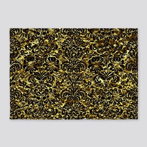 DAMASK2 BLACK MARBLE & GOLD FOIL (R 5'x7'Area Rug