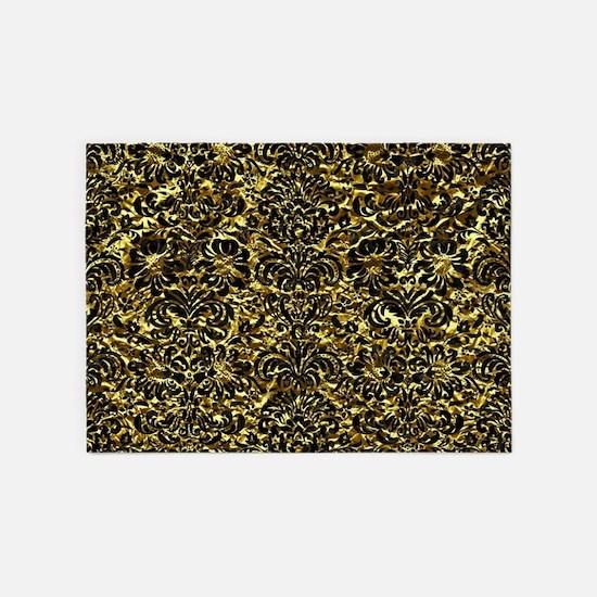 DAMASK2 BLACK MARBLE & GOLD FOIL (R 5'x7'Area Rug