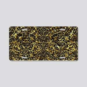 DAMASK2 BLACK MARBLE & GOLD Aluminum License Plate