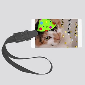 Calico Cat Birthday Party Large Luggage Tag
