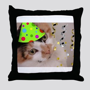 Calico Cat Birthday Party Throw Pillow