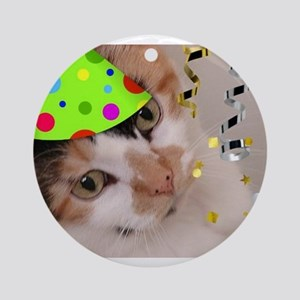 Calico Cat Birthday Party Ornament (Round)