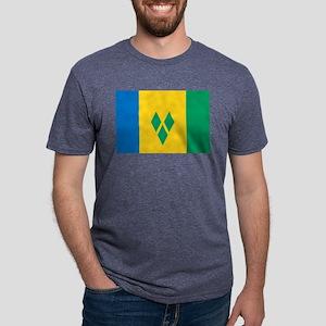 Saint Vincent Grenadines Flag Mens Tri-blend T-Shi