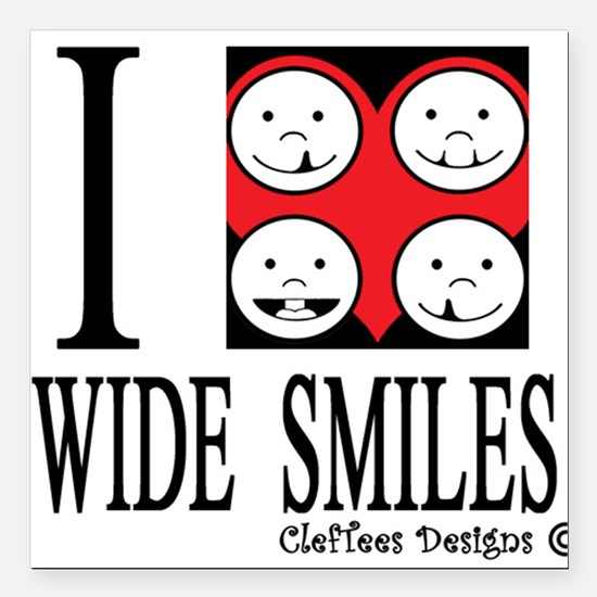 "I heart wide smiles Square Car Magnet 3"" x 3"""