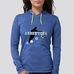 Argentina Soccer Player Womens Hooded Shirt