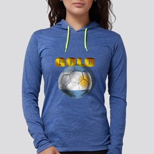 Argentina Soccer Gold Womens Hooded Shirt
