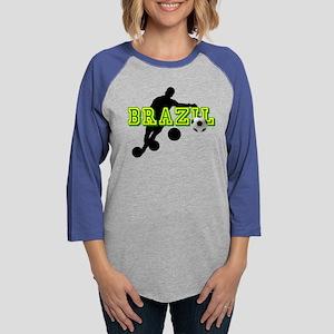Brazil Soccer Player Womens Baseball Tee