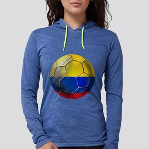 Colombia Soccer Ball Womens Hooded Shirt