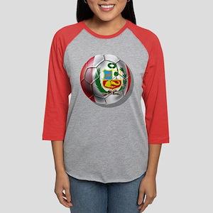 Peru Soccer Ball Womens Baseball Tee