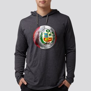 Peru Soccer Ball Mens Hooded Shirt