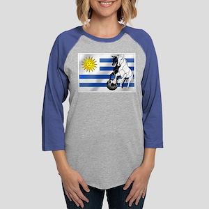 Uruguay Soccer Flag Womens Baseball Tee