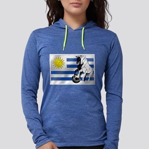 Uruguay Soccer Flag Womens Hooded Shirt