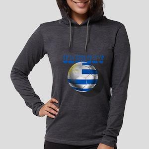 Uruguay Soccer Ball Womens Hooded Shirt