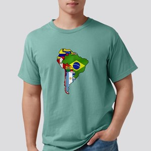 South America Flag Map Mens Comfort Colors Shirt