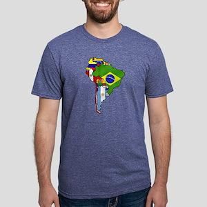 South America Flag Map Mens Tri-blend T-Shirt
