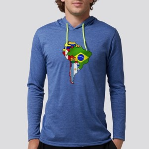 South America Flag Map Mens Hooded Shirt