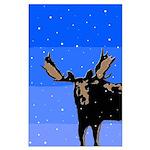 Winter Moose Large Poster
