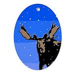 Winter Moose Oval Ornament