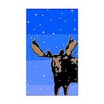 Winter Moose Rectangle Car Magnet
