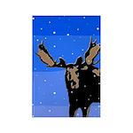 Winter Moose Rectangle Magnet