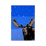 Winter Moose Rectangle Magnet (10 pack)