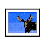 Winter Moose Framed Panel Print