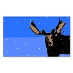 Winter Moose Sticker (Rectangle 50 pk)