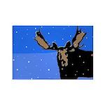 Winter Moose Rectangle Magnet (100 pack)