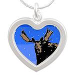 Winter Moose Silver Heart Necklace