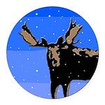 Winter Moose Round Car Magnet