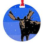 Winter Moose Round Ornament