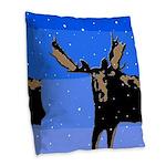 Winter Moose Burlap Throw Pillow