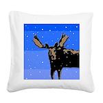 Winter Moose Square Canvas Pillow