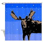 Winter Moose Shower Curtain