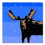 Winter Moose Square Car Magnet 3