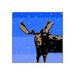 Winter Moose Square Sticker 3