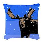 Winter Moose Woven Throw Pillow