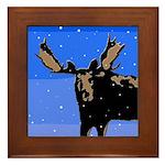 Winter Moose Framed Tile