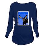 Winter Moose Long Sleeve Maternity T-Shirt