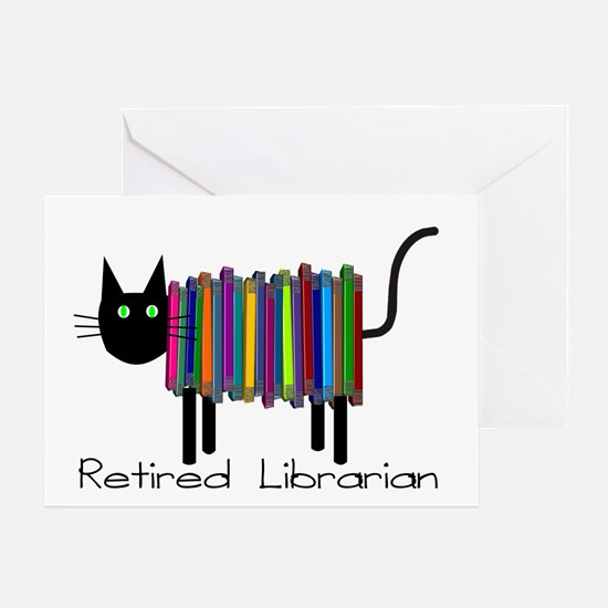 Retired Librarian Book Cat.PNG Greeting Card