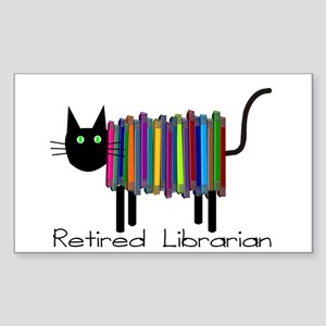 Retired Librarian Book Cat Sticker (Rectangle)