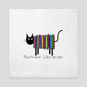 Retired Librarian Book Cat Queen Duvet